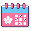 cherry, cherry blossom festival schedule, event, festival, sakura festival schedule, schedule icon