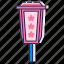 electric, electric lantern, lamp post, lantern, sakura lantern, sakura light icon