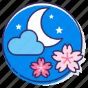 cherry blossom, night cherry blossom, night sakura, sakura blossom, sakura festival, sakura party, yozakura icon