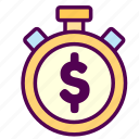 money, online, sales, shop, time icon