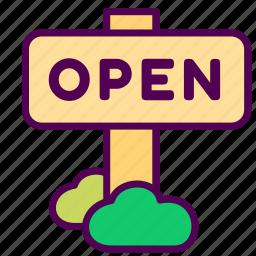 online, open, sales, shop, sign icon
