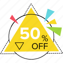 bargaining, fifty percent off, sale discount, sale offers, sale promotional poster icon