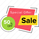 bargaining, fifty percent off, sale discount, sale offer, special offer icon