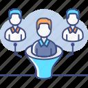 funnel, lead, qualification, team icon