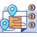 analytics, navigation, sales, territory icon