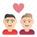 couple, day, heart, love, valentines icon