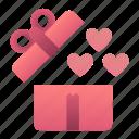 day, heart, love, open, present, valentines icon