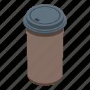 cartoon, coffee, cup, food, isometric, logo, plastic