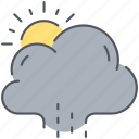 climate, cloud, forecast, rain, rainy, sun, weather icon