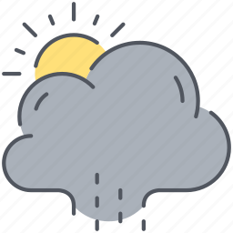 climate, cloud, forecast, rain, rainy, sun, weather icon