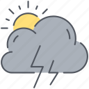 climate, cloud, forecast, storm, sun, thunder, weather icon