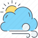 breeze, climate, cloud, forecast, sun, weather, wind icon
