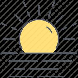 climate, forecast, hazy, sun, sunrise, sunset, weather icon