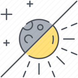 climate, day, forecast, moon, night, sun, weather icon