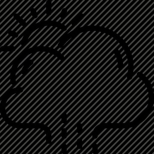 autumn, cloud, pouring, rain, rainy, sun, weather icon
