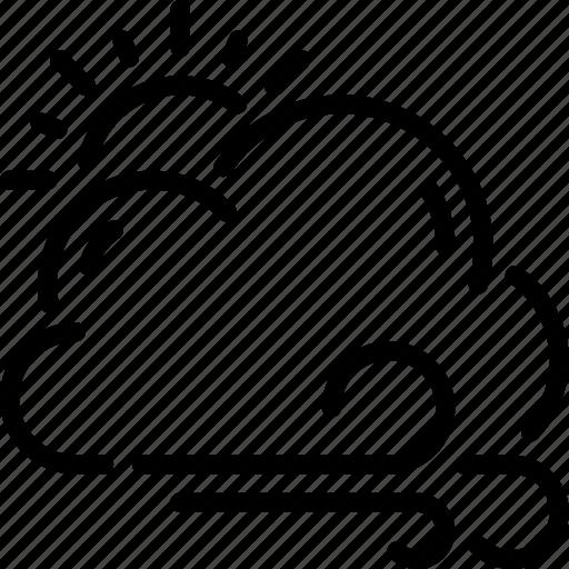 breeze, cloud, sun, weather, wind, windy icon