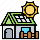 efficient, energy, house, power, solar icon