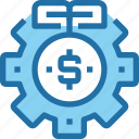 banking, gear, investment, money, process icon