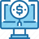 banking, computer, financial, investment, money, search, seo icon