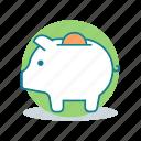 bank, coin, dollar, money, money box, pig, saving