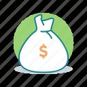 bag, cash, dollar, finance, money, money sack, sack