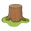 cut, root, sawed, stump, tree icon