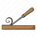 board, chips, chisel, lumber, processing, tool icon