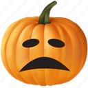 dissapointed, emoticon, food, halloween, orange, plant, pumpkin, sad, vegetable icon