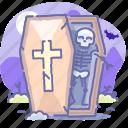 dead, halloween, coffin, skeleton icon