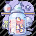 jar, eyeball, halloween, eye icon