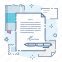 agreement, document, pen, sign icon
