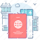 airport, flight, passport, ticket icon