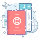 flight, international, passport, ticket icon