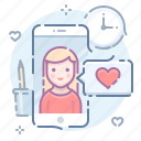 date, girl, love, mobile icon