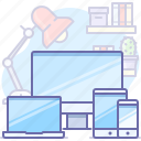 computer, devices, laptop, phone, responsive, workplace, workspace icon