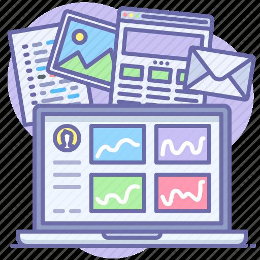 analytics, laptop, statistics icon