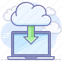 cloud, computer, download, import, install, laptop, save icon