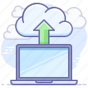 backup, cloud, laptop icon