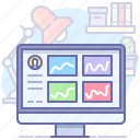 analytics, dashboard, desktop icon