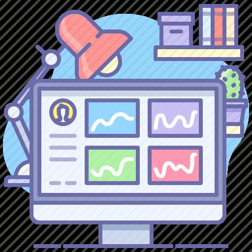 analytics, dashboard, desktop icon