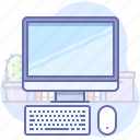 computer, desktop, keyboard, mouse, screen, workplace, workspace icon