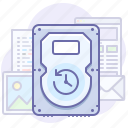 backup, data, drive, files, hard, save, time icon