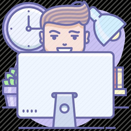 desktop, man, office icon