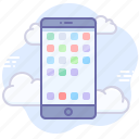 app, application, cloud, device, mobile, phone icon