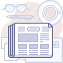 articles, business, feed, news, newspaper, table icon