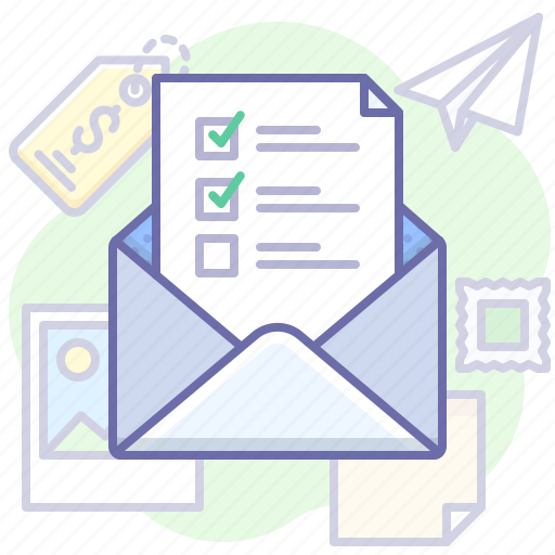 checklist, letter, mail icon
