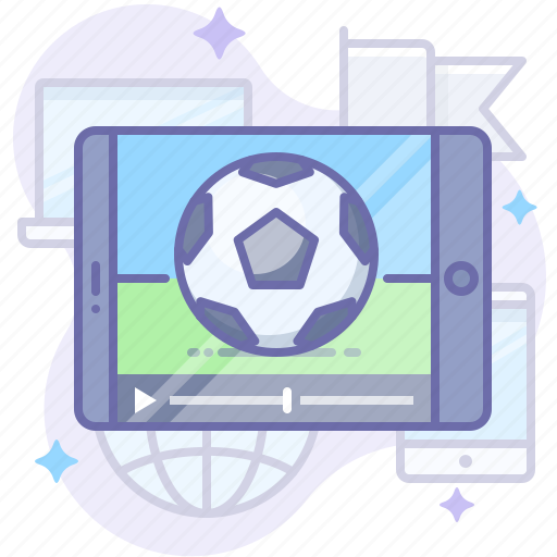 broadcast, soccer, video icon