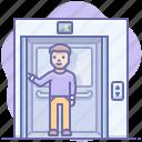 elevator, man, rise icon