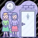 toilet, turn, wc, women icon