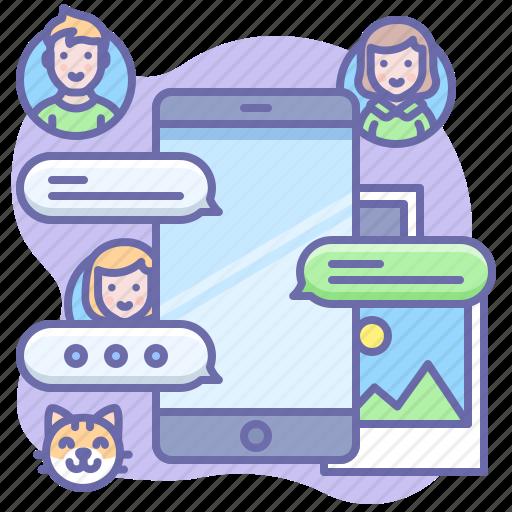 bubble, message, phone icon